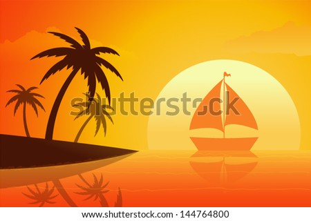 Tropical Beach in Sunset - stock vector