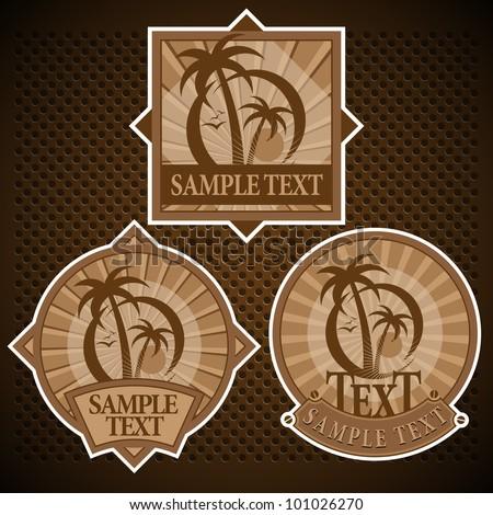 Tropical Beach Label Set - stock vector