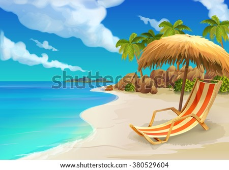 Tropical beach, lounge chair, vector background - stock vector
