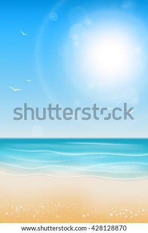 Tropical beach. Sandy beach under the bright sun. Marine background.