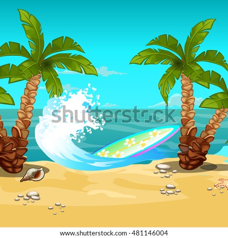 Tropical beach. Surfboard. Vector illustration.