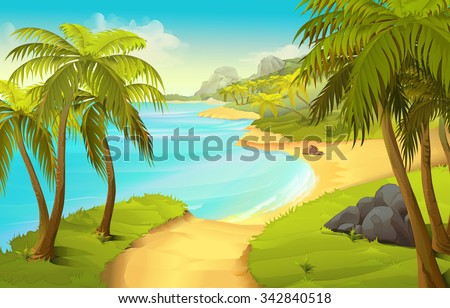 Tropical beach, vector background - stock vector