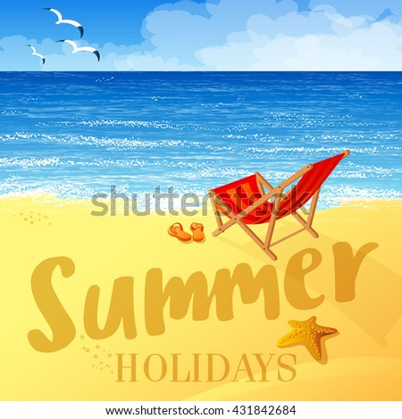 Tropical beach vector background. Summer holiday vector concept - stock vector