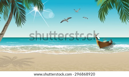 Tropical beach with boat and palms - stock vector