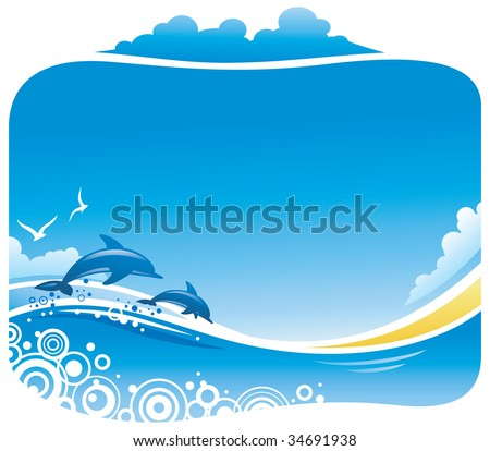 Tropical Beach with Dolphins - stock vector