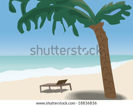 tropical beach with palm tree - stock vector