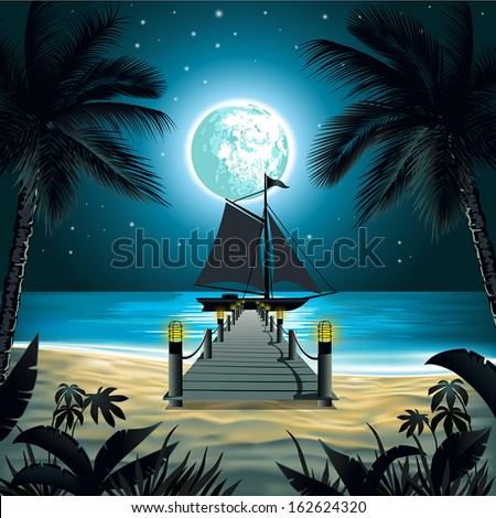 Tropical Beach with palm trees - stock vector