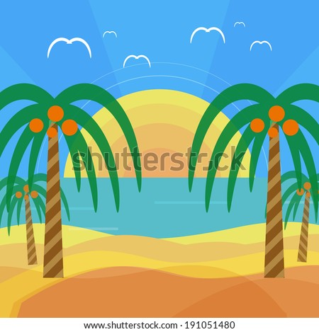 Tropical beach with palm trees. Planning a summer vacation, tourism and journey - stock vector