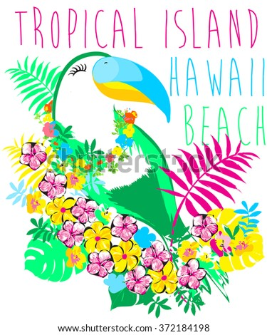 Tropical birds isolated on white background. Macaws. Art. Vector. - stock vector