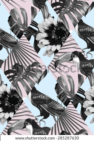 tropical black and white patchwork seamless background - stock vector