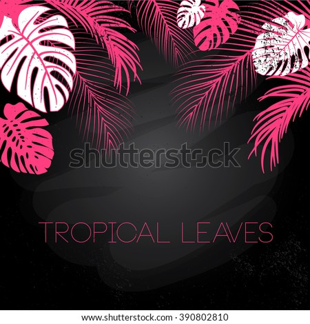 Tropical black, pink and white leaves background - stock vector