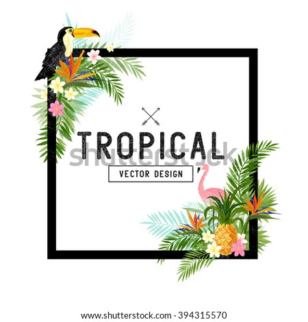 Tropical Border Design. Vector illustration - stock vector