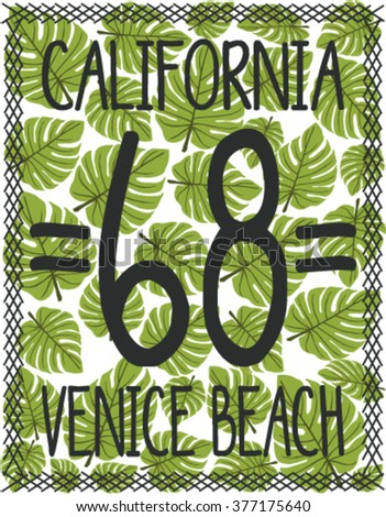 Tropical California Venice beach vector print and varsity. For t-shirt or other uses in vector.T shirt graphic - stock vector