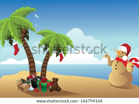 Tropical Christmas Background. EPS 10 vector, grouped for easy editing. No open shapes or paths. - stock vector