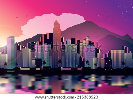 Tropical City Skyline at Night with Reflection Background - Vector Illustration - stock vector