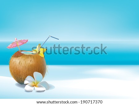 Tropical cocktail - stock vector