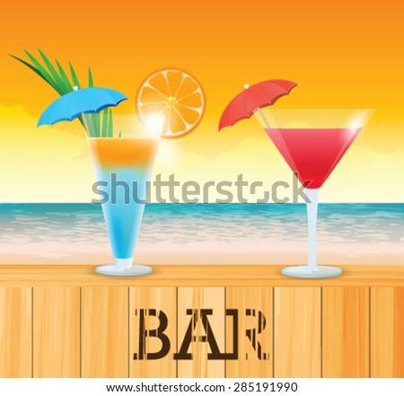 Tropical cocktail on the beach - stock vector