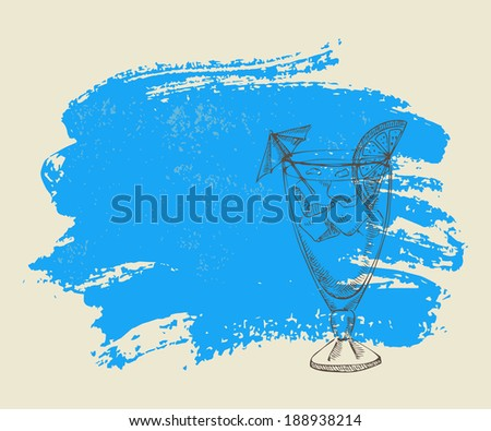 Tropical cocktail with ice on blue grunge background - stock vector