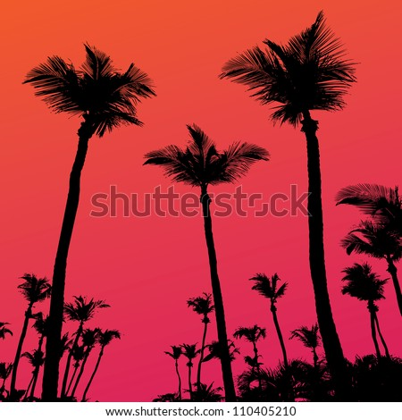 Tropical coconut palm tree silhouettes illustration over a purple sunset sky in vector format. - stock vector