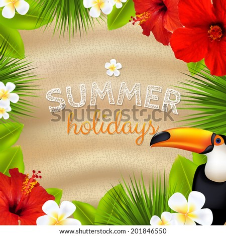 Tropical Color Banner, With Gradient Mesh, Vector Illustration - stock vector