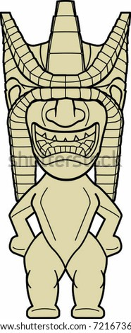 Tropical Detailed Tiki Man Statue Vector Illustration - stock vector