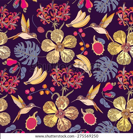 Tropical exotic flowers, fruits and birds. Seamless background.