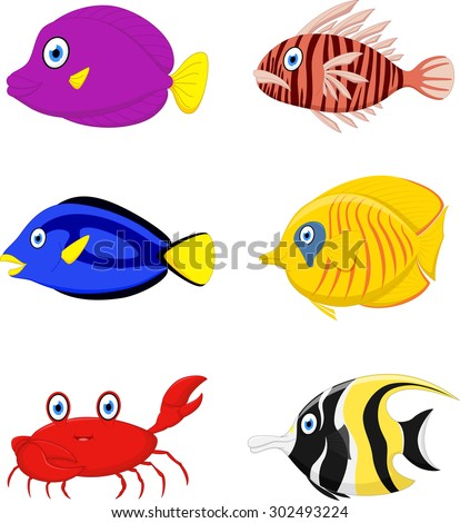 Tropical fish cartoon - stock vector