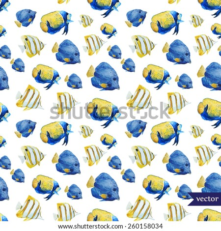 tropical, fish, ocean, sea, watercolor, wallpaper, background, texture, blue, yellow, exotic - stock vector