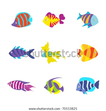 Tropical Fishes Collection. Vector Illustration. - stock vector