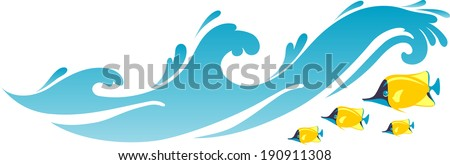 Tropical Fishes in beach waves - stock vector