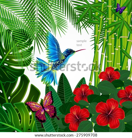 Tropical floral design background with bird, butterflies. - stock vector