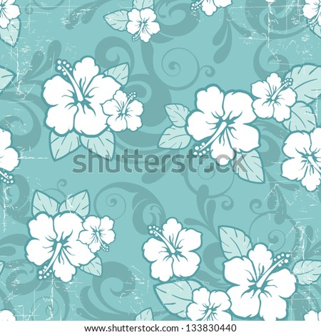 Tropical floral seamless distressed-EPS10 - stock vector
