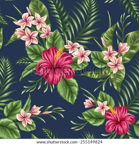 Tropical floral seamless pattern with plumeria and hibiscus flowers - stock vector