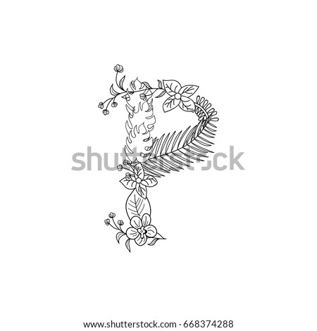 Tropical Floral Summer Pattern Hand Drawn Ornamental Font With Palm Beach Leaves Flower Letter