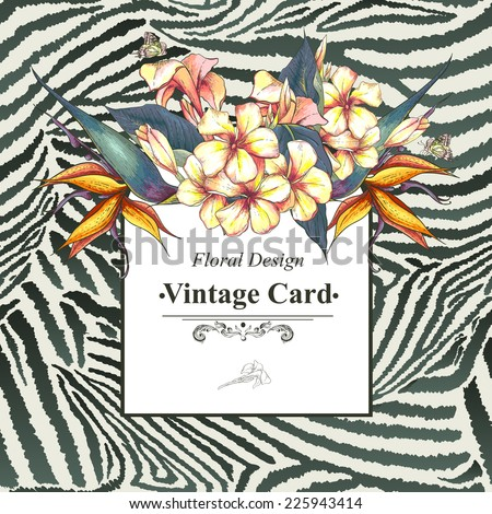 Tropical Floral Vintage Card with Exotic Flowers and Butterflies on Zebra Background. Bird of Paradise Background. Vector Design element. - stock vector
