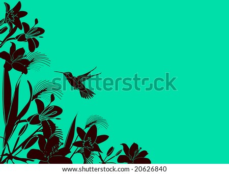 Tropical Flower background with hummingbird - stock vector