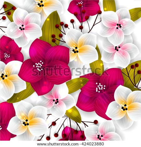 Tropical flower, blossom cluster seamless pattern  - stock vector