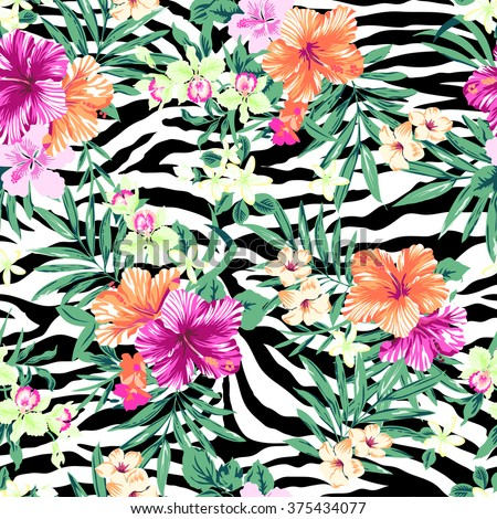 tropical flower print over zebra background ~ seamless pattern