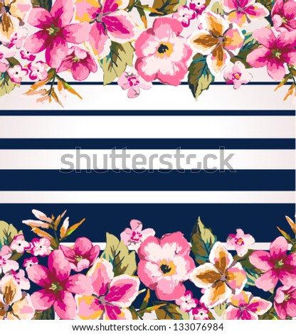 tropical flower with stripe mirror effect vector pattern background - stock vector