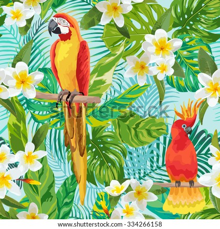 Tropical Flowers and Birds Background - Vintage Seamless Pattern - in vector - stock vector