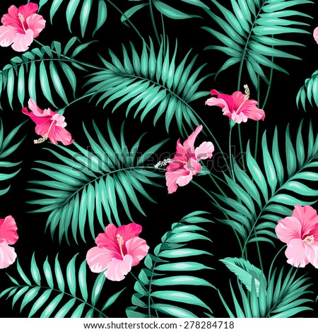 Tropical flowers and jungle. Seamless texture. Vector illustration. - stock vector