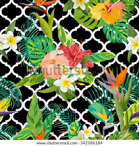 Tropical Flowers and Leaves Background - Vintage Seamless Pattern - in vector - stock vector