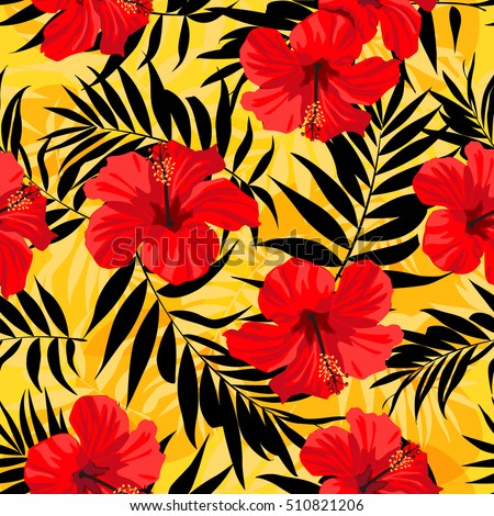 Tropical Flowers And Palm Leaves On Background Seamless Vector Pattern