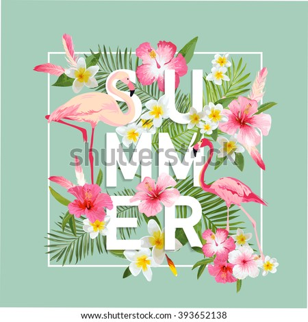 Tropical Flowers Background. Summer Design. Vector. Flamingo Background. T-shirt Fashion Graphic. Exotic Background. - stock vector