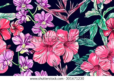 Tropical flowers, orchid, hibiscus, bird of paradise flower. Beautiful seamless vector floral jungle pattern background, exotic print - stock vector