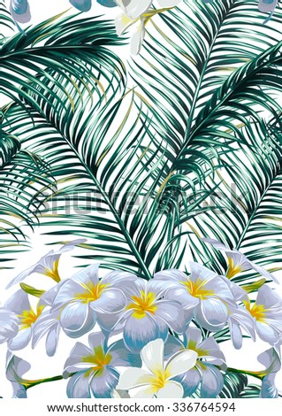 Tropical flowers, palm leaves. Beautiful seamless vector floral jungle pattern background - stock vector