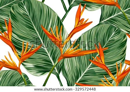 Tropical flowers, palm leaves, bird of paradise flower. Beautiful seamless vector floral jungle pattern background, exotic print - stock vector