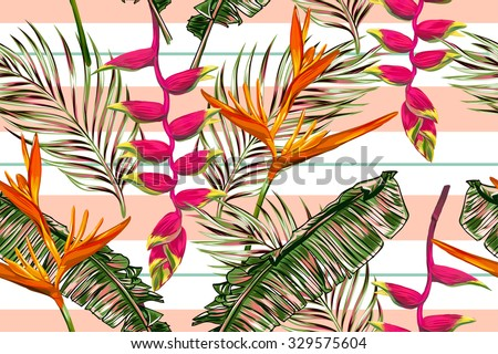 Tropical flowers, palm leaves, bird of paradise flower, strips. Beautiful seamless vector floral jungle pattern background, exotic print. Abstract geometric texture - stock vector