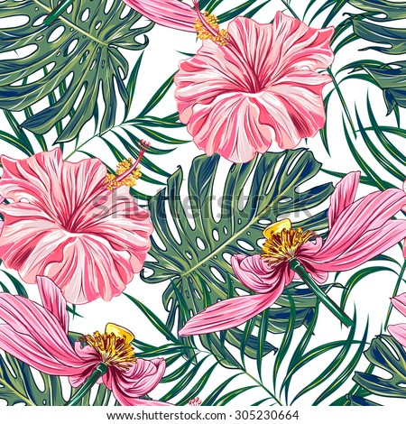 Tropical flowers, palm leaves, hibiscus, pink lotus, seamless vector floral jungle pattern background, wallpaper - stock vector