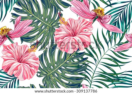 Tropical Flowers Palm Leaves Jungle Leaves Stock Vector 309137786